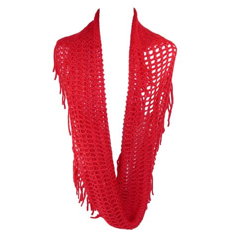 womens fringed knit infinity loop scarf by ctm