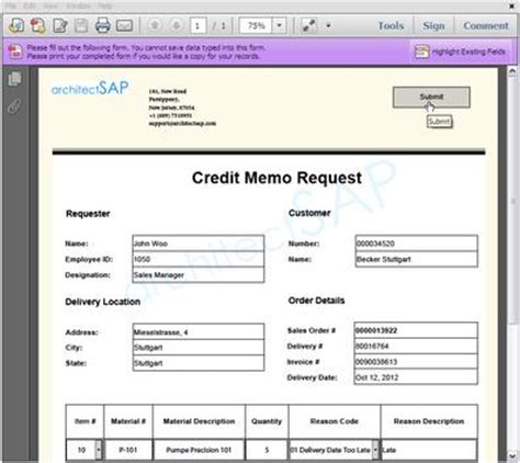 Credit Approval Memo Format How Sap Adobe Forms Help Implement The Credit Note Management Process Sap Consulting