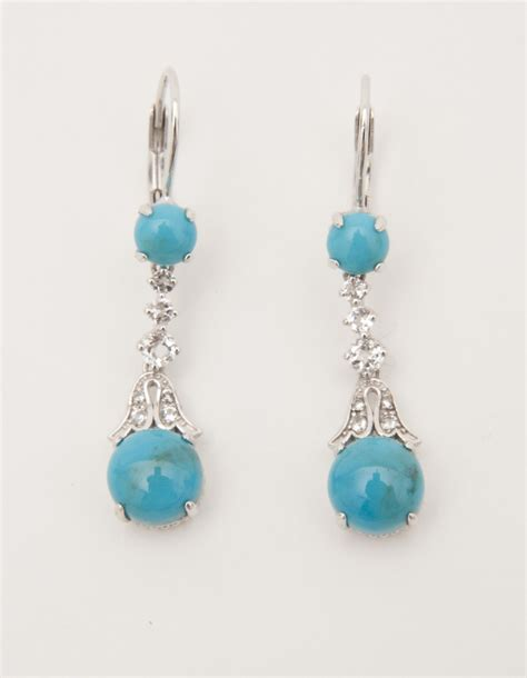 qvc jewelry sterling turquoise and white topaz earrings