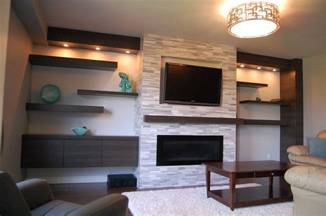 built in wall shelves with tv built in shelving around fireplace and tv floating