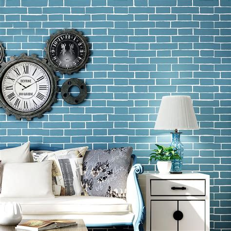 Wall 3d Brick Br1317 Blue popular blue brick wallpaper buy cheap blue brick