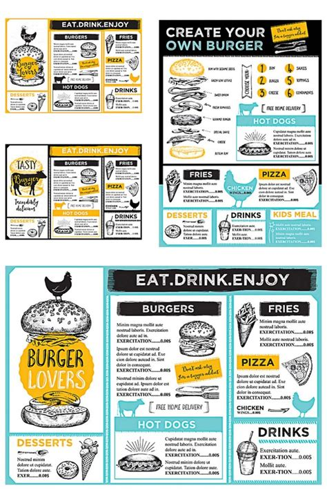 restaurant burger menu modern vector set