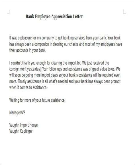 appreciation letter to bank manager 50 appreciation letter sles sle templates