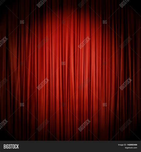 theatre drop curtain red stage curtain illuminated by spotlight backdrop 3d