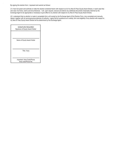 irs section 368 el paso corp de form 8 k ex 99 2 form of election