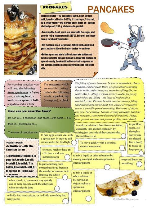 printable pancake recipes pancake recipe worksheet free esl printable worksheets