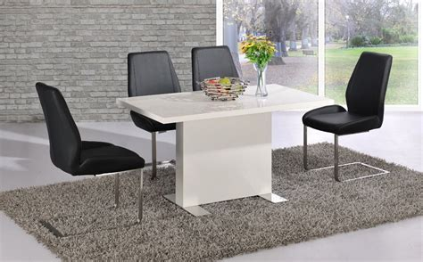 white dining table black chairs white high gloss dining