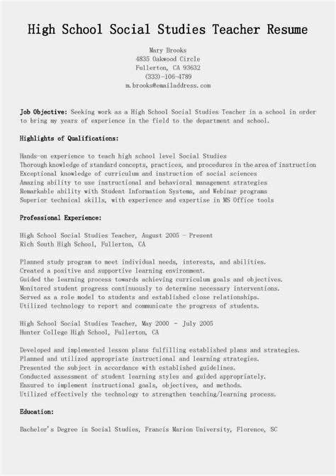 resume sles high school social studies teacher resume