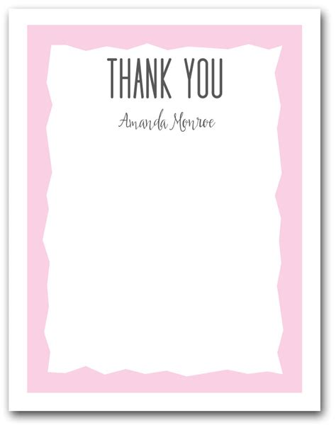 pink zigzag border flat note cards