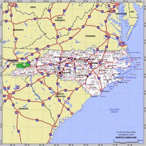 carolina road map detailed road map of nc pictures to pin on pinsdaddy
