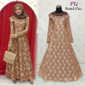 Dress Brokat Motif 3d baju gamis pesta brokat liliana busana muslim modern