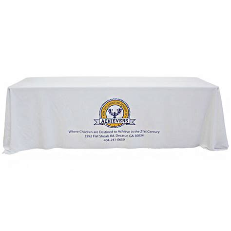 table drape with logo 8 foot custom white drapedtable cloth with logo
