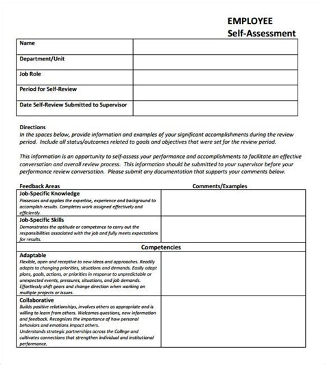 Self Assessment 9 Download Free Documents In Pdf Excel Self Performance Review Template