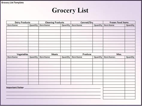 grocery list template to print out organization ideas