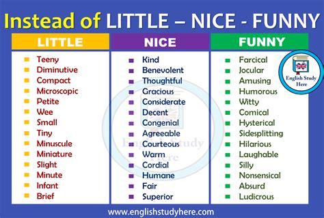 nice funny synonym words english study