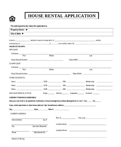 Sle House Rental Application 8 Free Documents In Word Pdf House Rental Application Template Word