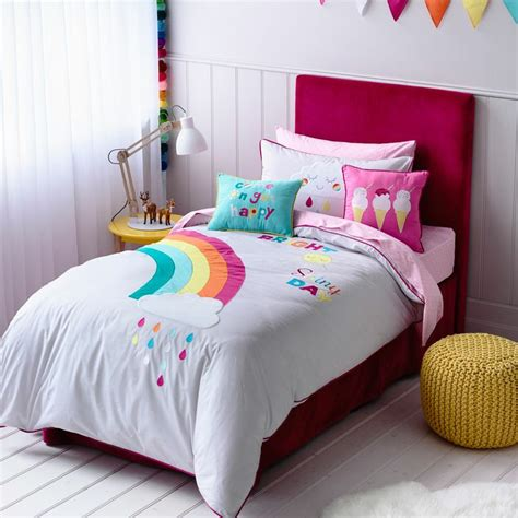 adairs kids girls rainbow sunshine bedroom quilt
