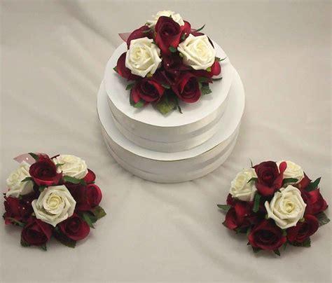 Cake Decorations   Set of 3 Burgundy & Ivory Rose Cake