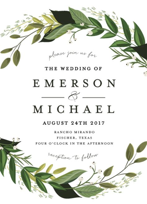 Wedding Invitations Green by Wedding Invitations Vines Of Green At Minted