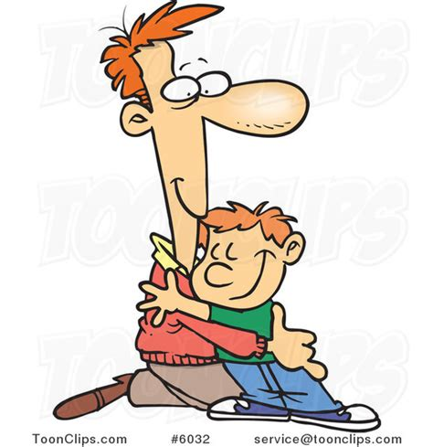 father and son cartoon cartoon father kneeling to hug his son 6032 by ron leishman