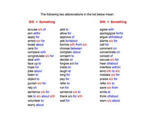 Below is a list of verbs their dependent prepositions