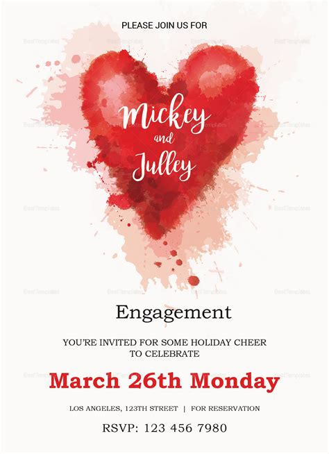 Invitation Engagement Card Template by Colorful Engagement Invitation Card Design Template In