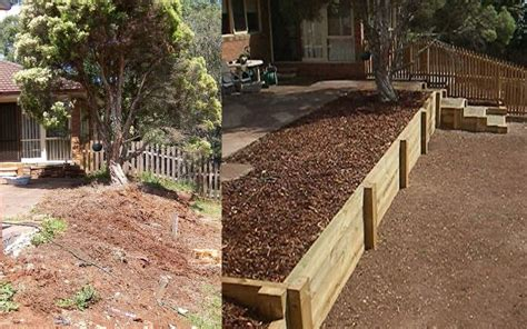 how to level your backyard landscape level out slope next to bottom deck create a 3rd tier for