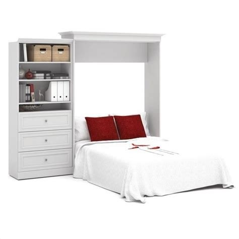 bestar versatile 101 queen wall bed with 3 drawer