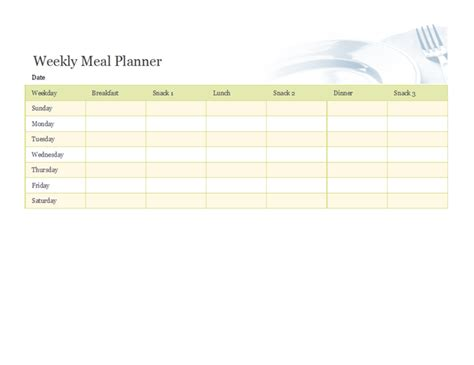 microsoft office weekly calendar template weekly meal planner office templates