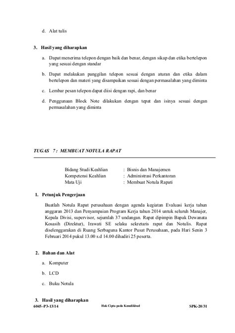 Buatlah Notulen Rapat by Soal Ukk Administrasi Perkantoran P1 2013 2014