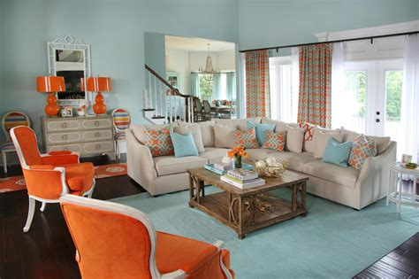 Blue Living Room Orange Accents Photos Hgtv
