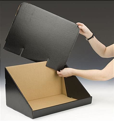 Cardboard Countertop Displays by Corrugated Countertop Bin Black