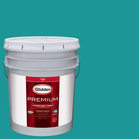 glidden premium 5 gal hdgb14d sailing ship teal flat interior paint with primer hdgb14dp 05fn