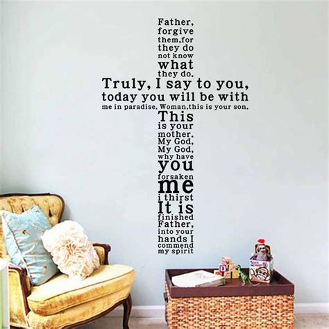 religious wall ideas new diy cross christian characters vinyl wall stickers