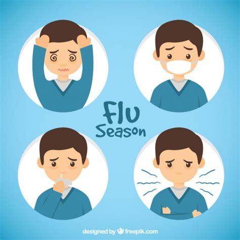 influenza con mal di testa mano ragazzo disegnato con sintomi influenzali scaricare