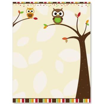printable owl border paper autumn owl border paper paperdirect