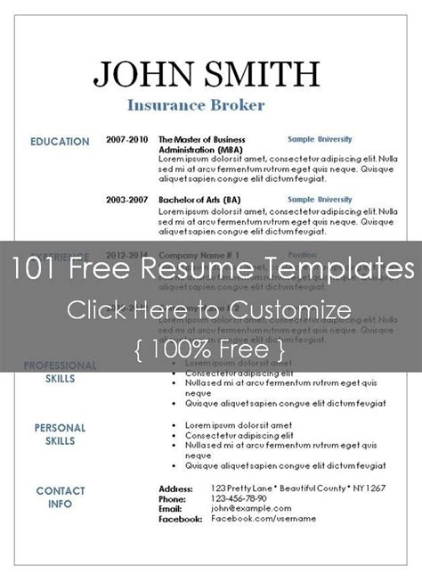 Resume Templates 101 by Blank Resume Template