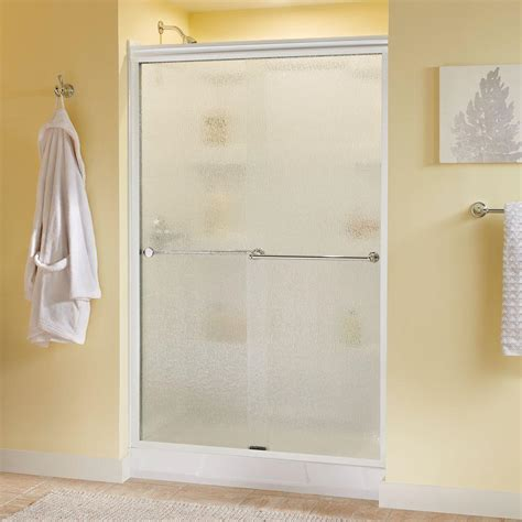 Semi Framed Shower Doors Delta Simplicity 48 In X 70 In Semi Framed Sliding Shower Door In Chrome With Clear Glass
