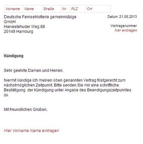 wohnung kuendigen deutsche fernsehlotterie k 252 ndigungsschreiben