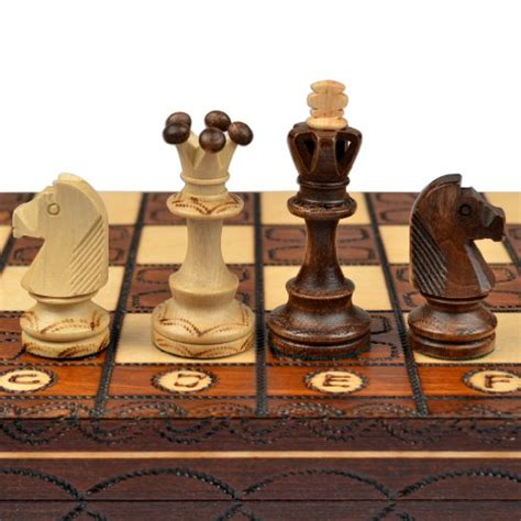 handmade european wooden chess set with 16 inch board and