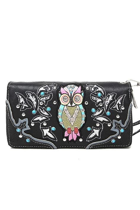 Wallet Owl Black Dompet Panjang owl with studs zip around wallet with agp handbags apparel