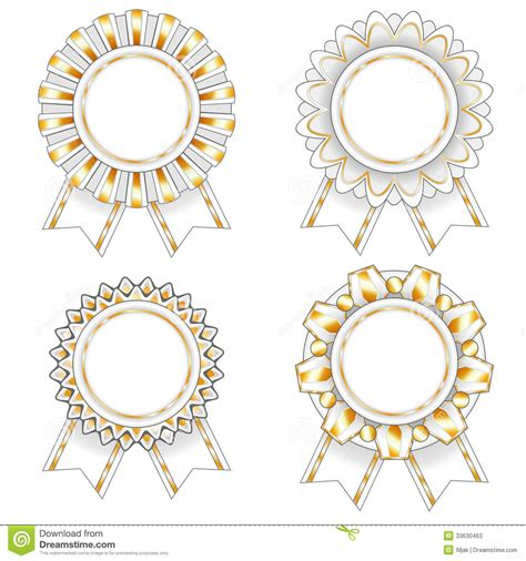 four white and gold rosettes stock photos image 33630463