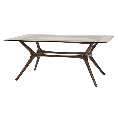 modern glass dining table palecek copenhagen mid century modern mahogany glass
