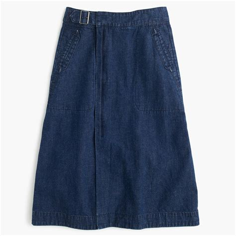 j crew belted a line skirt in denim in blue lyst
