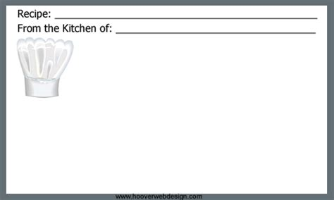 chef recipe card template free blank recipe cards