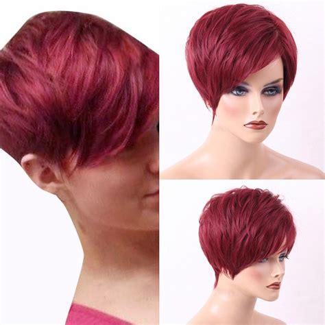 pixie cut human hair wigs human hair wigs wine red pixie cut short layered side