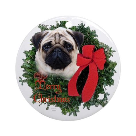 pug christmas ornament round by eclipsedesigns