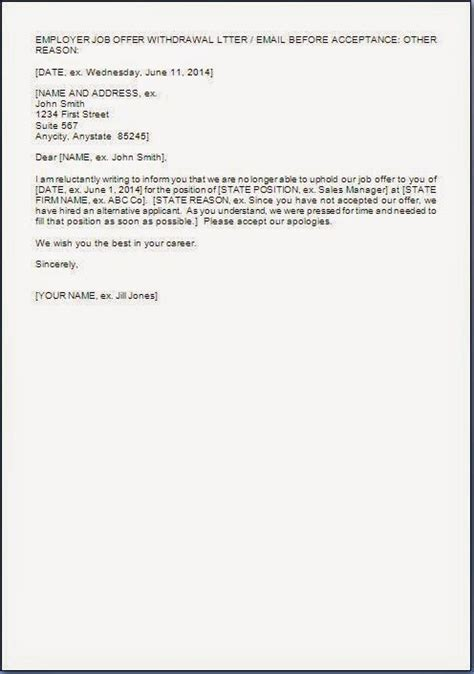 offer cancellation letter format employment offer rescind letter template letter template