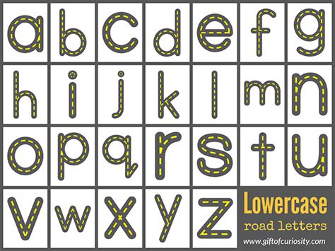 printable road letters free road letters printable for learning the alphabet