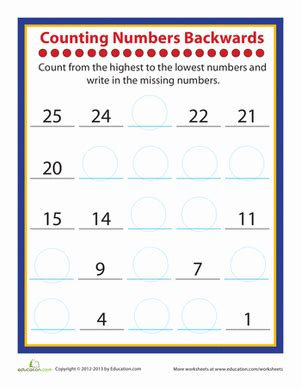 Counting Forward And Backwards Worksheets by Counting Practice Worksheet Education